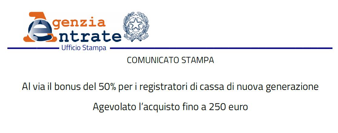 CORRISPETTIVI Al via il bonus del 50% per i registratori di cassa di nuova generazione – agevolato l'acquisto fino a 250 euro