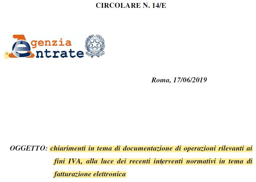 FTEL 27-1 –  Circolare 14/E/2019 tutta dedicata alla fatturazione elettronica