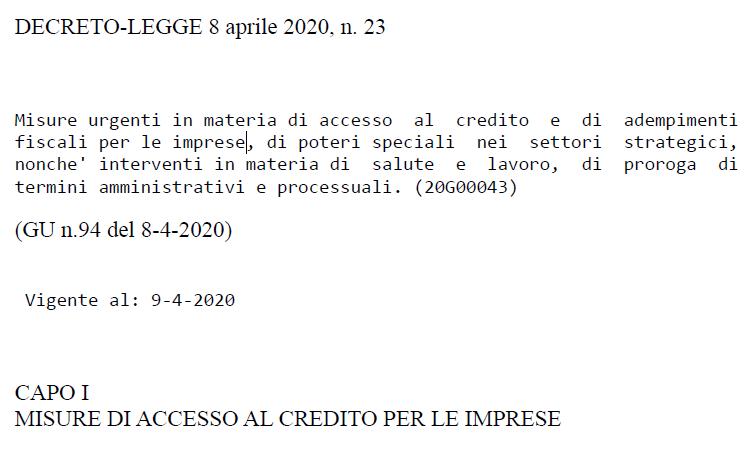 CORONAVIRUS 6 – DL 23/2020 Misure urgenti in materia di accesso al credito e di adempimenti fiscali per le imprese