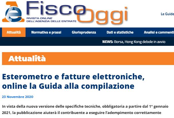 FTEL2 – 2 On line la Guida alla compilazione dell'Agenzia delle Entrate del 25.11.2020
