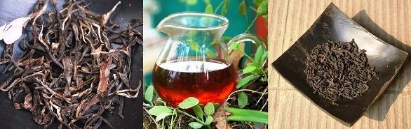Trockene Teeblätter und Aufguss von Da Hong Pao Oolong Tee (Big Red Robe = Große Rote Robe)