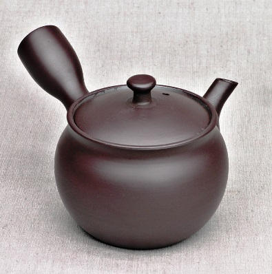 Kyusu Teekanne, aubergine, 250ml, Ton, Handarbeit