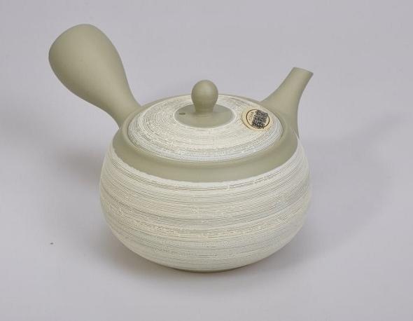 Japanische Kyusu Seitengriff-Teekanne, grün-weiß, 380 ml