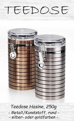 Teedose Hasine, 250g, Metall / Kunststoff, rund, Platin- oder Kupferoptik