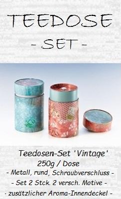 Teedosen-Set 'Vintage', 150g / Dose - Metall, rund, Schraubvershluss