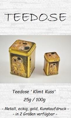 Teedose 'Klimt Kuss' 25g / 100g - Metall, eckig