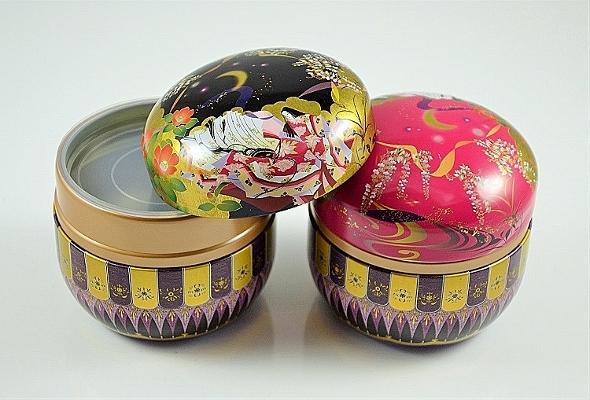 Set Teedose / Matcha-Tee-Dose 'Tamiko' 100g / Dose - Metall, Kunststoff, rund