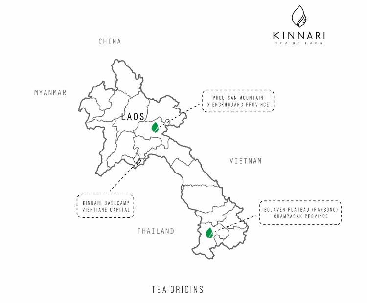 Kinnari-Map _ Hinnari Anbaugebiete Xiengkhouang und Bolaven Plateau in Laos