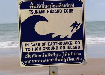 Un panneau d'avertissement sur le risque de tsunami