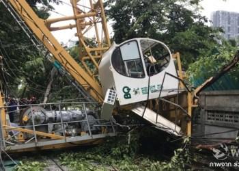 Bangkok : 3 blessés et des véhicules endommagés après l'effondrement d'une grue