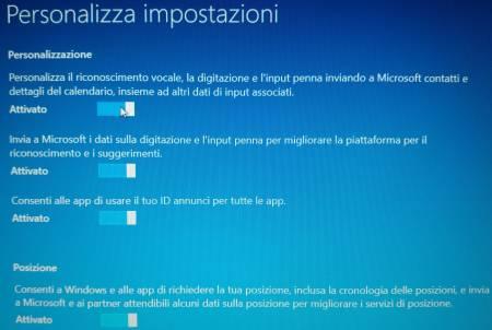 Windows 10: impostazioni