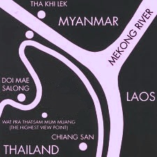 Map of Golden Triangle: Thailand, Laos, Myanmar (Burma)