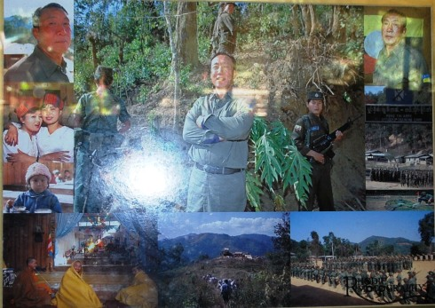 Khun Sa picture collage at the Khun Sa Museum in Ban Therd Thai