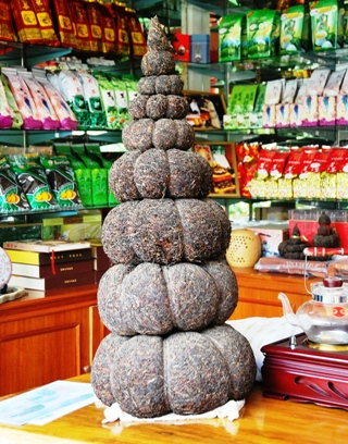 Tower of pressed shu Pu Erh tea in Doi Wawee, north Thailandmented