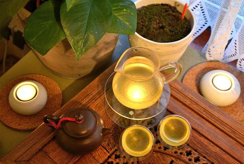 Japanese Sencha green tea prepared at home