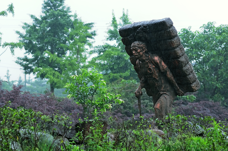 Sculpture to memorize the ancient tea horse road in Sichuan