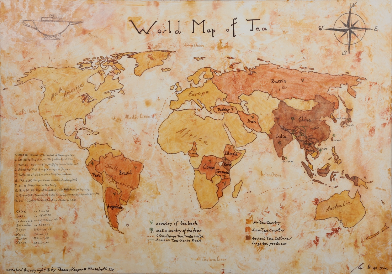 Siamteas The World Map Of Tea Painted By Artist A Blog On The