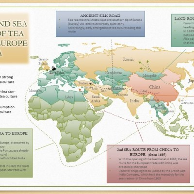 Ancient Land and Sea Trade Routes of Tea From China to Europe and Russia - Map by SiamTee