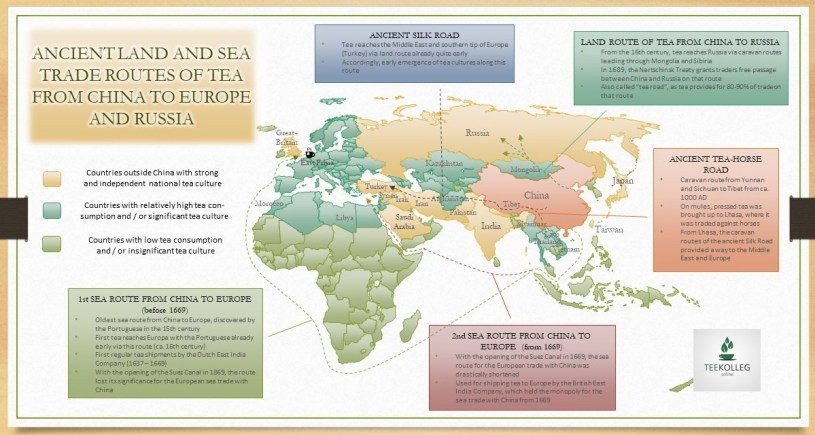 Tea and Origin : Ancient Land and Sea Trade Routes of Tea From China to Europe and Russia - Map by SiamTee