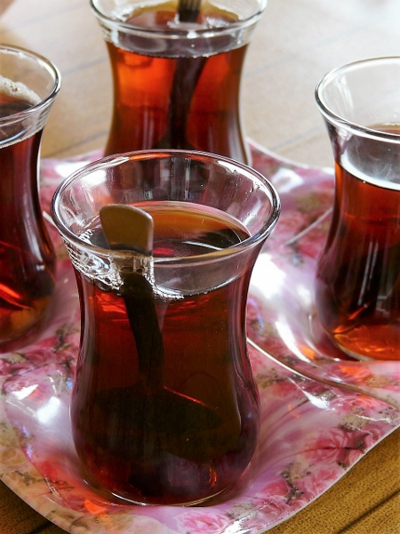 Turkish black tea - strong and with a lot of sugar