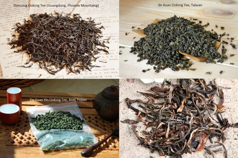 4 types of Oolong tea, one from every classic origin region of Oolong teas : Da Hong Pao Oolong from Wuyishan (Fujian), Jin Xuan Oolong from Taiwan, Tie Guan Yin Oolong from Anxi (Fujian) and Mi Lan Xiang Dancong Oolong tea from Fenghuanshan Phoenix Mountain (Guangdong)