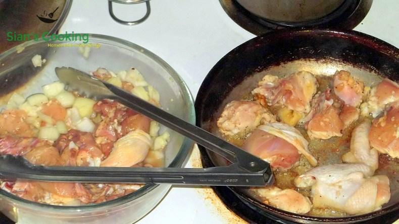 Making Jamaican style brown stew chicken