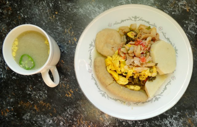 pot water alongside ackee & saltfish with food