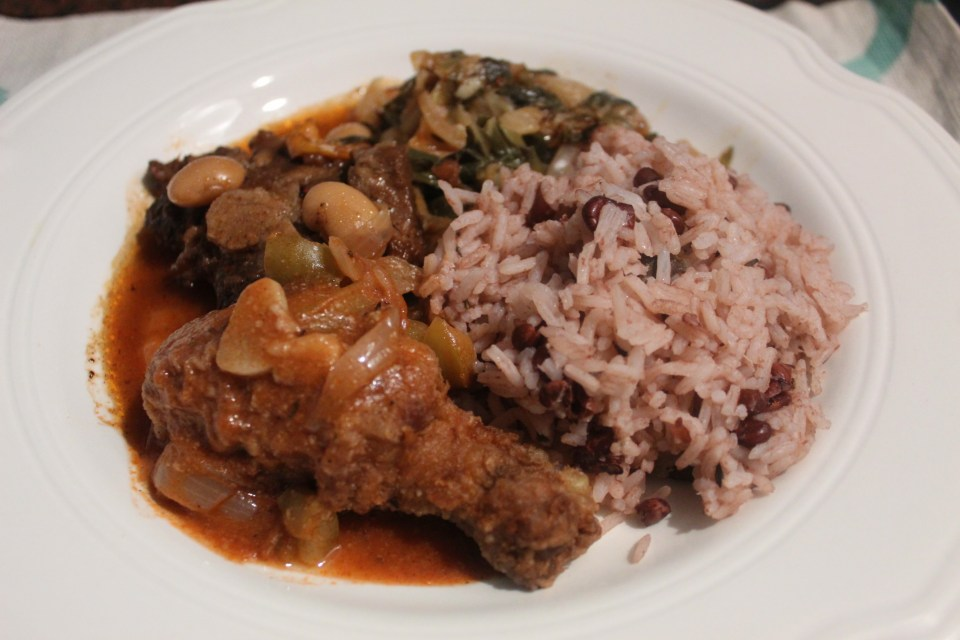 Jamaican fried chicken with rice and peas