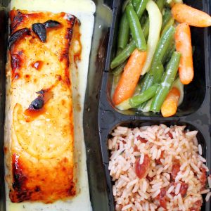 Grilled Salmon with rice and peas and vegetable medley