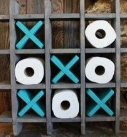 noughts toilet roll holder blue