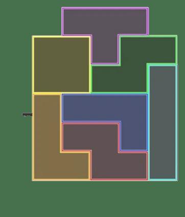 Tetromino shelf unit layout option