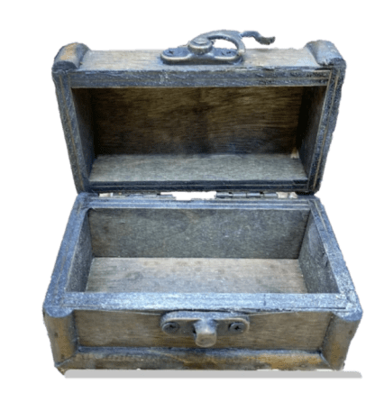 inside view of empty treasure chest