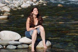Miriam at the Coquihalla River