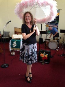 Juanita with her lovely umbrella - so no one can rain on her parade !