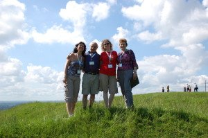 Miriam, Jim, Juanita, Mavis on the hill of Tara, Ireland - June 2014