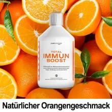 Total Immun Boost schmeckt nach orangen und enthält 149 Wirkstoffe.