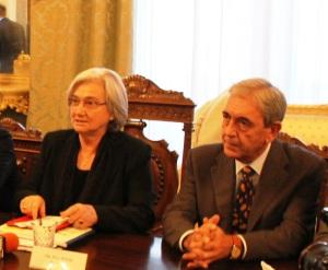 La presidente della Commissione Antimafia Rosy Bindi e il prefetto di Messina Stefano Trotta (Foto Paolo Furrer)