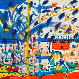 E fiori,e armi,e stalattiti-omaggio J. M. Basquiat- acrilico su tavola-2013 copia