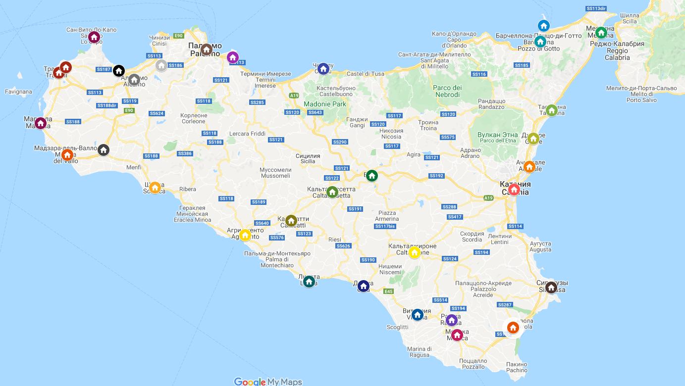 Карта Сицилия
