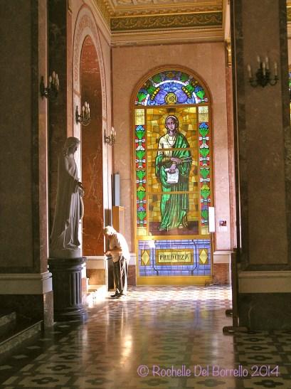 Interior stainglass windows at the Tindari church, Messina.