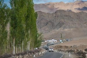 His Holiness the Dalai Lama's motorcade on the road from Leh to Stok, Ladakh, J&K, India
