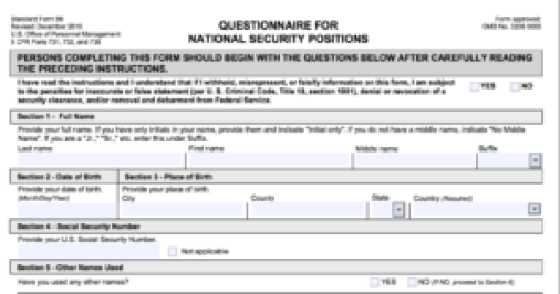 False statements on a security clearance form may be a crime