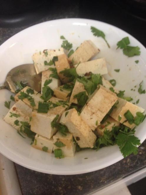 Steamed tofu with la jiao jiang.