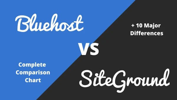 Siteground vs Bluehost – A Complete Comparison Chart + 10 Major Differences