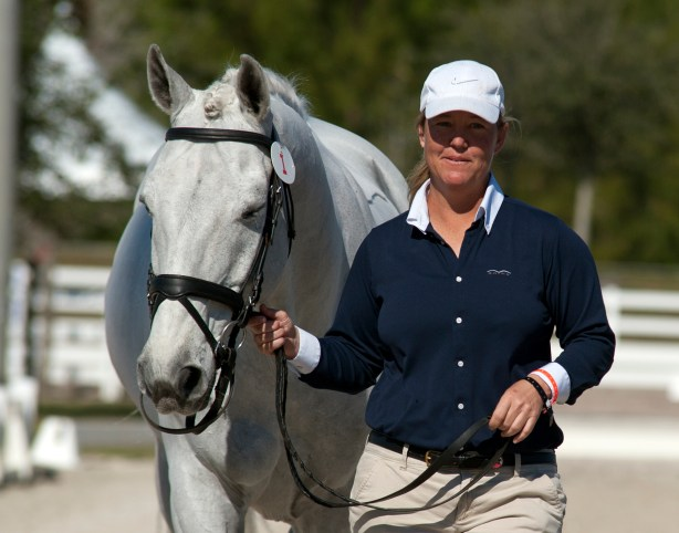 """A relaxed Jacqueline Brooks and """"Goose"""" under the Florida sun in the jog at the 2013 World Dressage Masters competition.  Photo by Kim MacMillan/MacMillan Photography"""