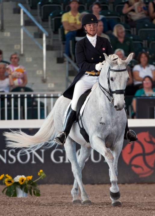 Jacqueline and D-Niro showing their tempi changes in the Grand Prix Special CDI5* at the 2013 World Dressage Masters.  Photo by Allen MacMillan/MacMillan Photography