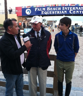 Sidelines TV's Rob Jordan interviewing Jack and legendary trainer George Morris.