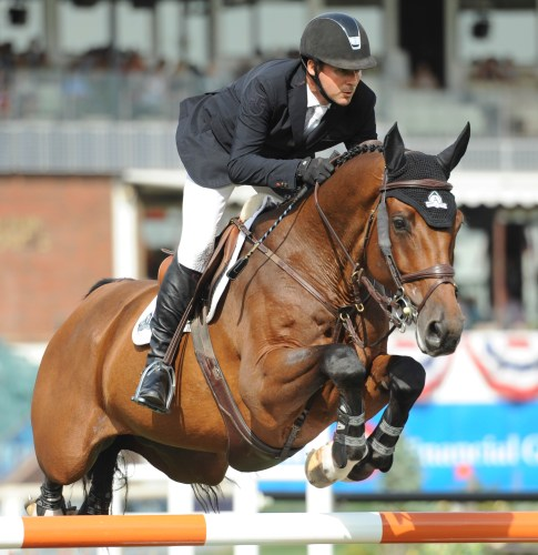 Eric Lamaze and his current top mount, Powerplay, owned by Artisan Farms LLC. Photo by Spruce Meadows Media Services