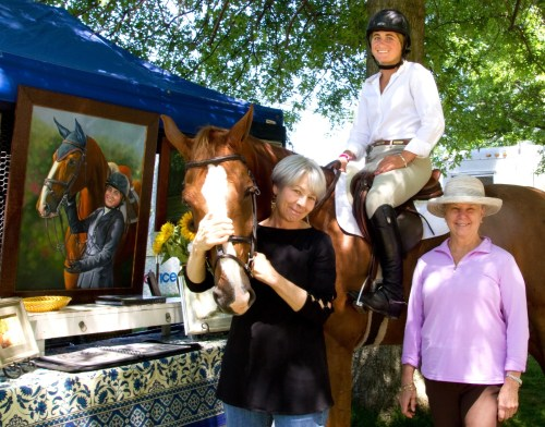 Monsieur du Reverdy, artist Linda Luster, Tori Colvin (in saddle), and Karen Long Dwight who commissioned the duo's portrait which is visible on the left, unveiled at the 2013 Upperville Horse Show. Photo by Brigid Colvin