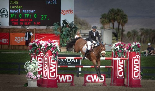 Nayel and Lordan during the $50,000 Horze Equestrian Grand Prix HITS Thermal.